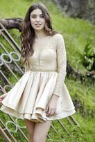 Jolene Collection - 17563 Lace Deep V-neck A-line Dress