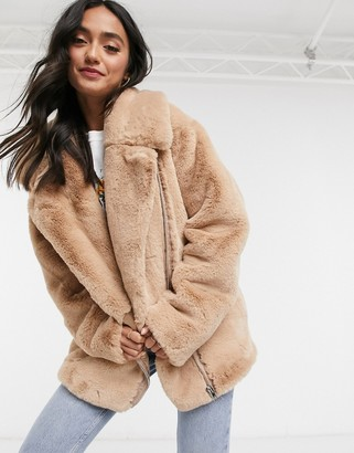 ASOS DESIGN faux fur biker jacket in mink