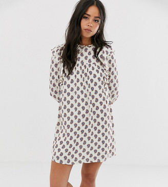 Wild Honey oversized smock dress with lace trims in floral