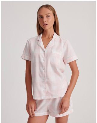 Chloe & Lola Lurex Short Sleeve Pyjama Set in Pink and White Baby