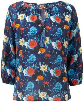Nologo Chic Silk Gypsy Top - Blue Moon Floral