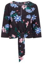 Dorothy Perkins Womens Girls On Film Black Spot Floral Tie Top, Black