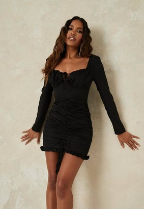 Missguided Black Ruched Lace Up Mini Dress