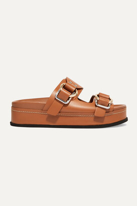 3.1 Phillip Lim Freida Leather Platform Sandals - Tan