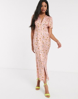 NEVER FULLY DRESSED button through maxi dress in blush star print
