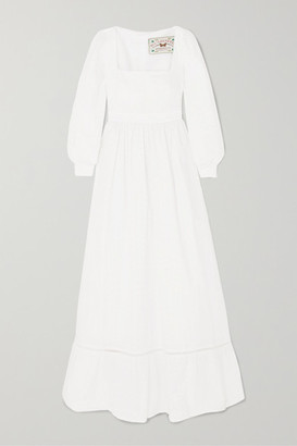 Agua Bendita Agua By Agua by Curuba Pointelle-trimmed Broderie Anglaise Cotton Maxi Dress - White