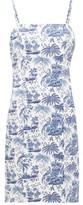 STAUD Basset Tropical-print Cotton Dress - Womens - Blue White