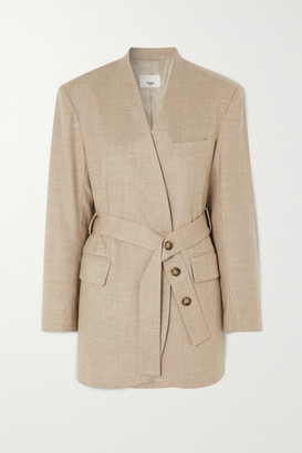 Frankie Shop Belted Wool-blend Wrap Blazer - Beige