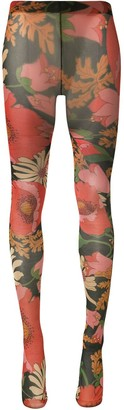 Richard Quinn Black Wine floral-print tights