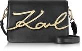 Karl Lagerfeld Black Leather K/Signature Shoulder Bag
