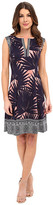 Maggy London Palm Medallion Printed Scuba Fit and Flare with Border Detail