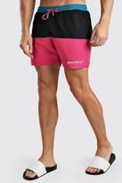 boohoo Mens Pink MAN Official Mid Length Colour Block Swim Short, Pink