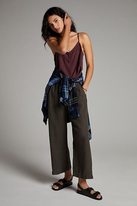Velvet by Graham & Spencer Lola Linen Cropped Wide-Leg Pants By in Grey Size XS