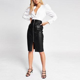 River Island Black faux leather utility pencil skirt