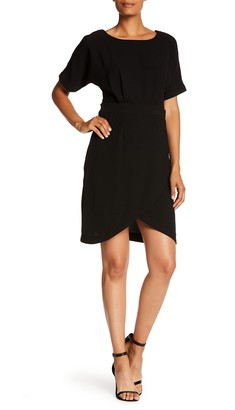 Bobeau Solid Dolman Sleeve Faux Wrap Dress