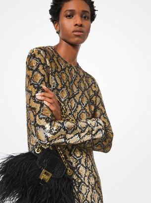Michael Kors Python Sequined Silk-Georgette Shift Dress