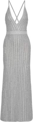 Herve Leger Frayed Metallic Ribbed-knit Gown