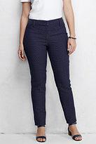 Classic Women's Plus Size Mid Rise Jacquard Slim Pants-Navy Jacquard