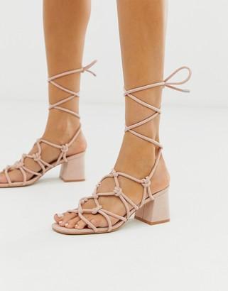 Public Desire Freya blush ankle tie mid heeled sandals-Pink