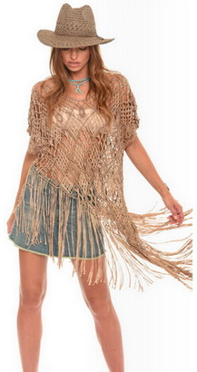 Singer22 Diosa Asymmetrical Macrame Top With Fringe
