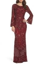 Mac Duggal Women's Sequin Bell Sleeve Gown