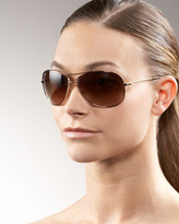 Ray-Ban Rounded Aviator Sunglasses, Golden/Brown