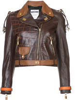 Moschino crocodile-effect biker jacket