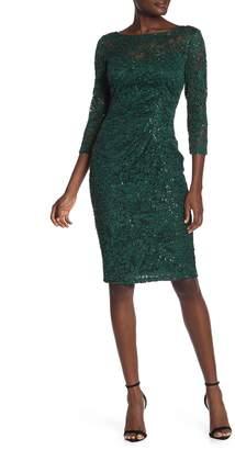 Marina Sequin Lace 3/4 Sleeve Sheath Dress
