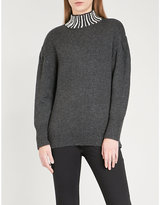 Sandro Faux pearl-embellished knitted jumper