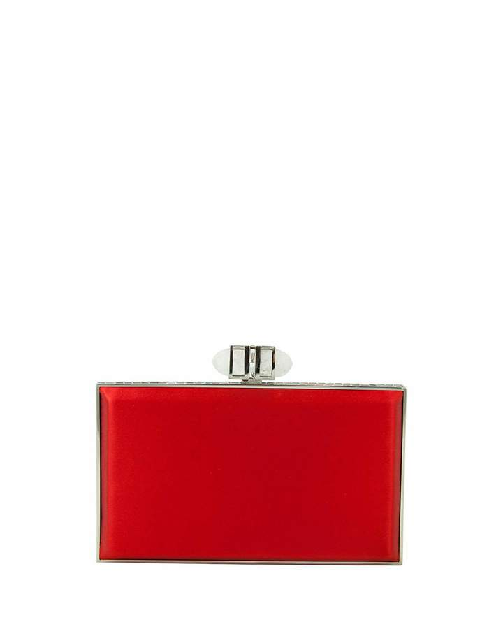 Judith Leiber Couture Satin Coffered Rectangle Clutch Bag, Red