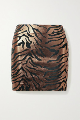 Sprwmn Metallic Zebra-print Leather Mini Skirt - Copper