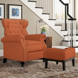 Three Posts Leverette Manual Recliner Fabric: Orange