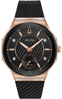 Bulova Women's CURV Stainless Steel & Rubber Diamond Accent Watch - 98R239