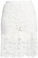 Sacai Embroidered Lace Pencil Skirt