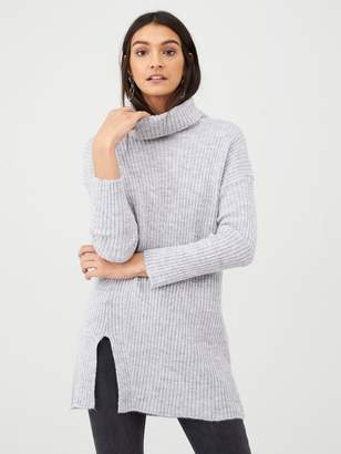 Very Ribbed Roll Neck Split Front Tunic - Grey/Marl