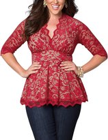 AMZ PLUS Women Plus Size Sexy Lace V-neck Empireline Pleated Top Shirt 3XL
