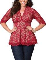 AMZ PLUS Women Plus Size Sexy Lace V-neck Empireline Pleated Top Shirt 4XL