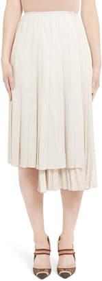 Fendi Pinstripe Layered Silk Skirt
