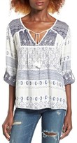 Roxy Lucky Blue Print Peasant Top