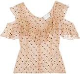 Alice McCall Loyal Lover Cold-shoulder Swiss-dot Silk-organza Blouse - Beige