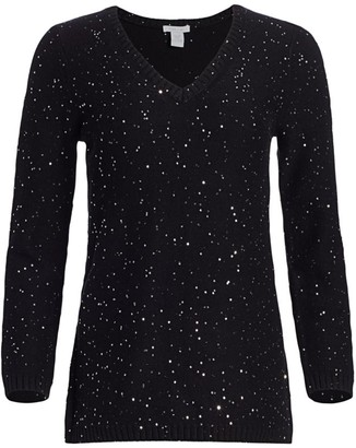 Joan Vass Petite Knit Sequin Pullover