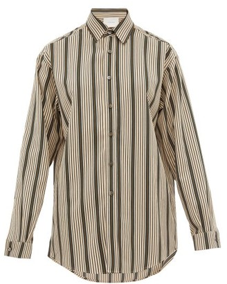 Marios Schwab On The Island By Ransvik Striped Twill Shirt - Womens - Green Stripe