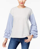 Style&Co. Style & Co Chambray Ruffle-Sleeve Top, Created for Macy's
