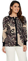 Bob Mackie Bob Mackie's Placement Print Knit Cardigan