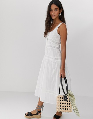 Asos Design DESIGN sleeveless lace insert midi dress with dropped waist-White