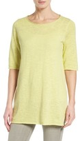 Eileen Fisher Petite Women's Organic Linen & Cotton Slub Tee