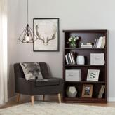 South Shore Morgan 4-Shelf Bookcase with 2 Canvas Storage Baskets in Royal Cherry