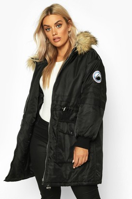 boohoo Plus Faux Fur Hooded Parka