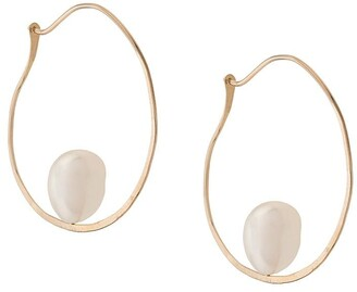 Niza Huang 9kt yellow gold Floating Baroque pearl hoop