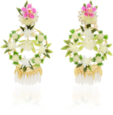 Mercedes Salazar Fiesta White And Gold-Tone Floral Drop Earrings
